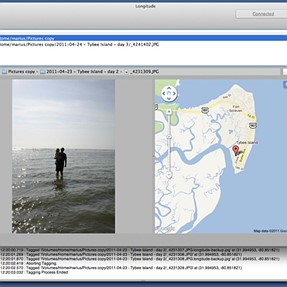 Free Mac Appstore app to Geotag using Google Latitude iPhone/Android app history.