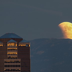 Rising super blood moon over Tucson