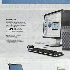 Partial scan of Dell advertisement in today's newspaper