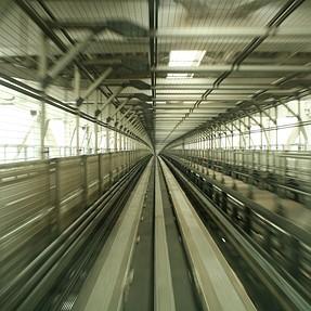 On monorail at Odaiba (Tokyo)