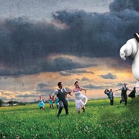 Marshmallow Man chasing Wedding Party