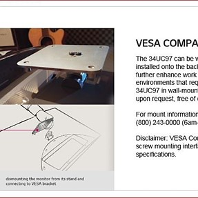 LG 34C97 Ultrawide monior VESA mount - How to obtain?