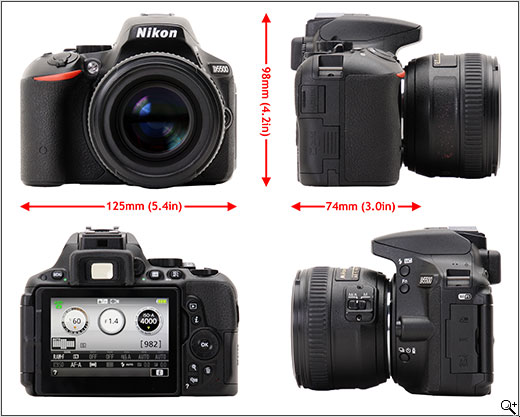 Nikon D5500 Body sizing and Review.